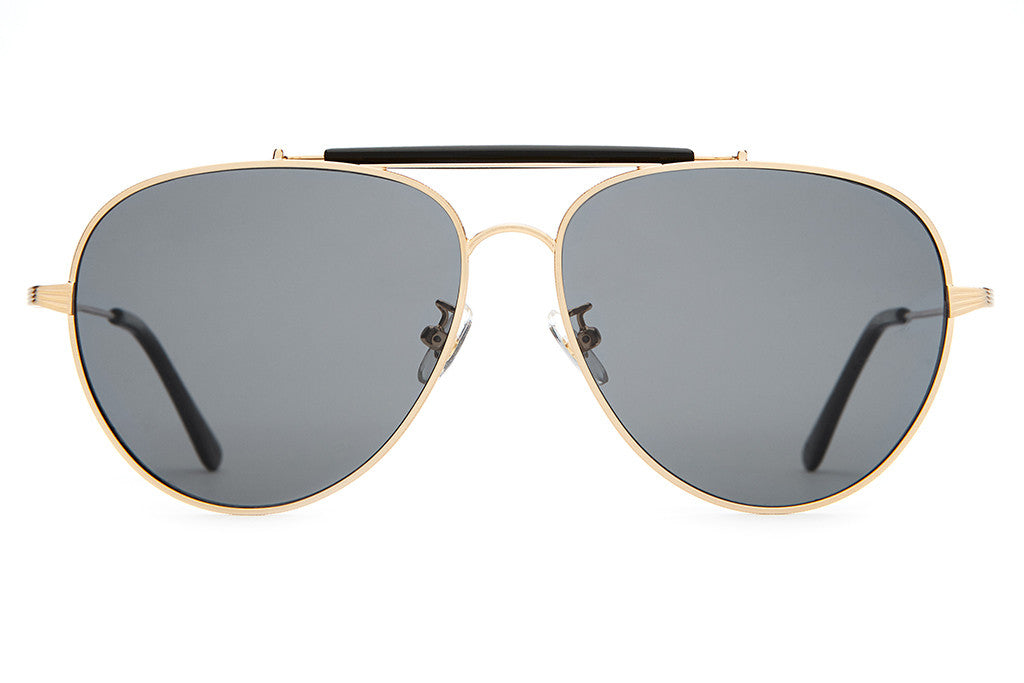 The Road Crue - Brushed Gold Wire, Gloss Black Brow & Tips - w/ Polarized Grey Lenses - Sunglasses