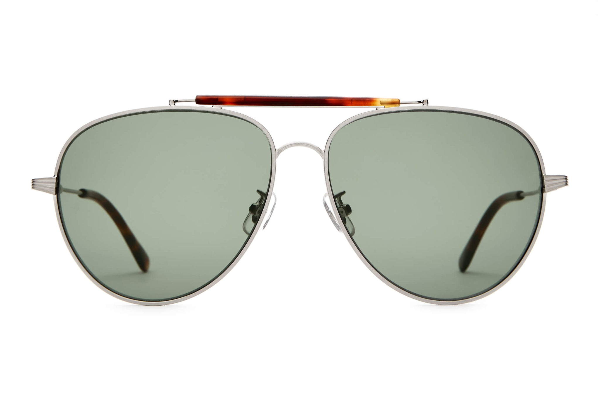 The Road Crue - Brushed Silver & Dark Tortoise - / Vintage Green - Sunglasses