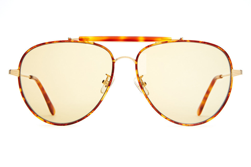 The Road Crue - Brushed Gold Wire, Havana Tortoise Rims, Brow & Tips - w/ Gold Tint CR-39 Lenses - Sunglasses