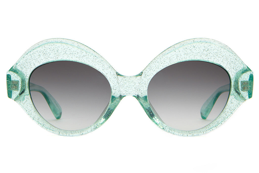 The Saloma Tropic - Gloss Mint Glitter - w/ Grey Gradient CR-39 Lenses - Sunglasses