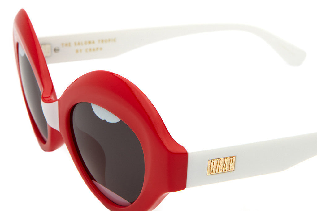 The Saloma Tropic - Red Lips w/ White Stems - w/ Grey CR-39 Lenses - Sunglasses