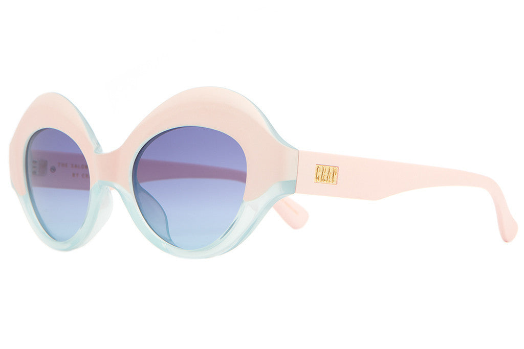 The Saloma Tropic - Matte Light Pink & Semi Translucent Sky Blue - w/ Blue Gradient CR-39 Lenses - Sunglasses