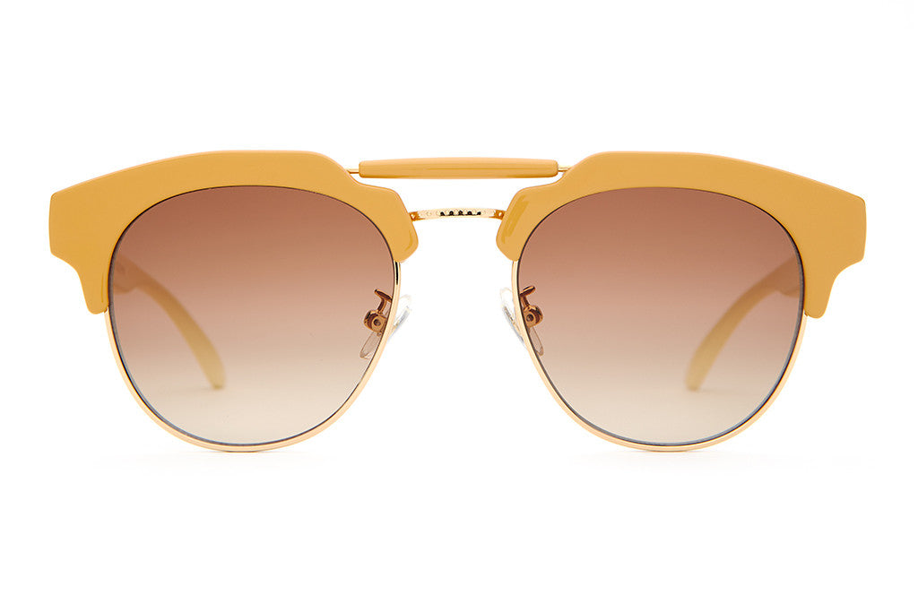 The Stepping Razor - Gloss Camel & Cream Stems - w/ Zero Base Amber Gradient CR-39 Lenses - Sunglasses