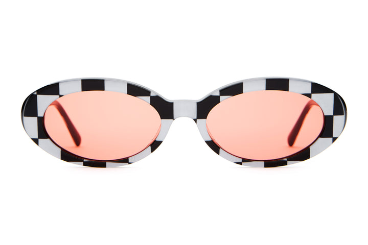 The Sweet Leaf - Silver Checkerboard - / Cherry Red - Sunglasses