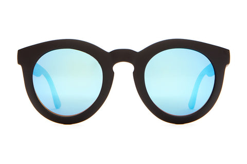 The T.V. Eye - Flat Black - w/ Reflective Blue Lenses - Sunglasses