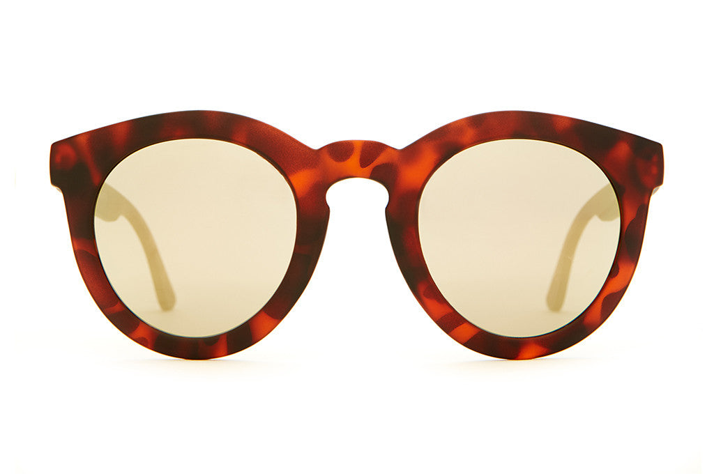 The T.V. Eye - Matte Brown Tortoise - w/ Gold Mirror Lenses - Sunglasses