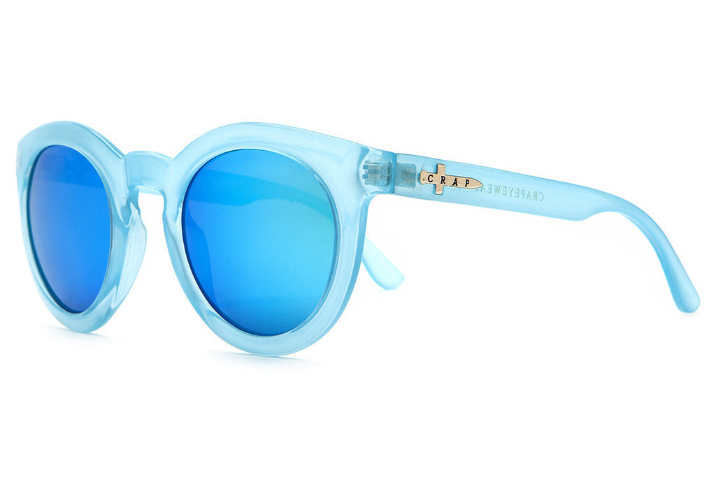 The T.V. Eye - Gloss Semitranslucent Sky Blue - w/ Reflective Blue Lenses - Sunglasses