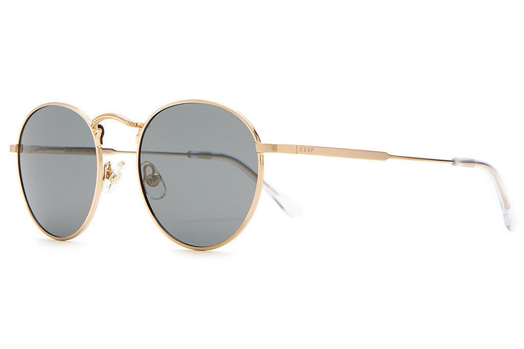 The Tuff Patrol - Brushed Gold Wire & Crystal Clear Tips - w/ Polarized Grey Lenses - Sunglasses