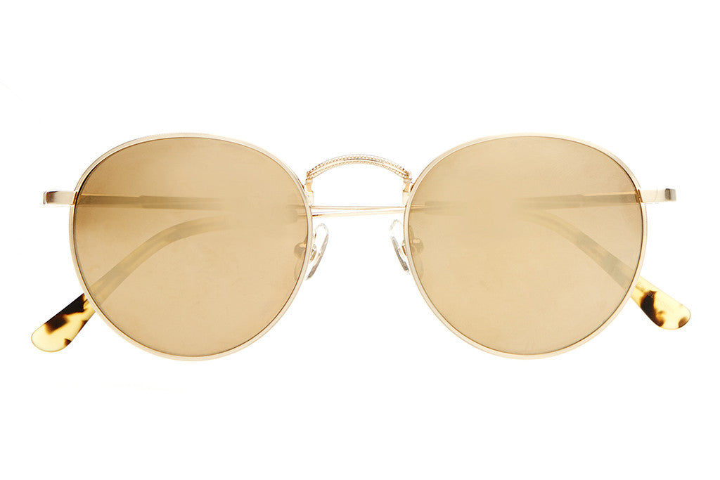 The Tuff Patrol - Brushed Gold Wire & Matte Jungle Tortoise Tips - w/ Gold Mirror Lenses - Sunglasses