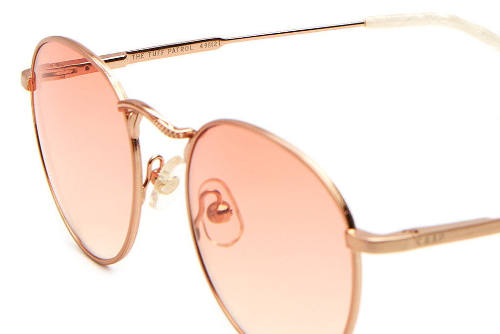 The Tuff Patrol - Brushed Rose Gold Wire & Pearl Tips - w/ Peach Gradient CR-39 Lenses - Sunglasses