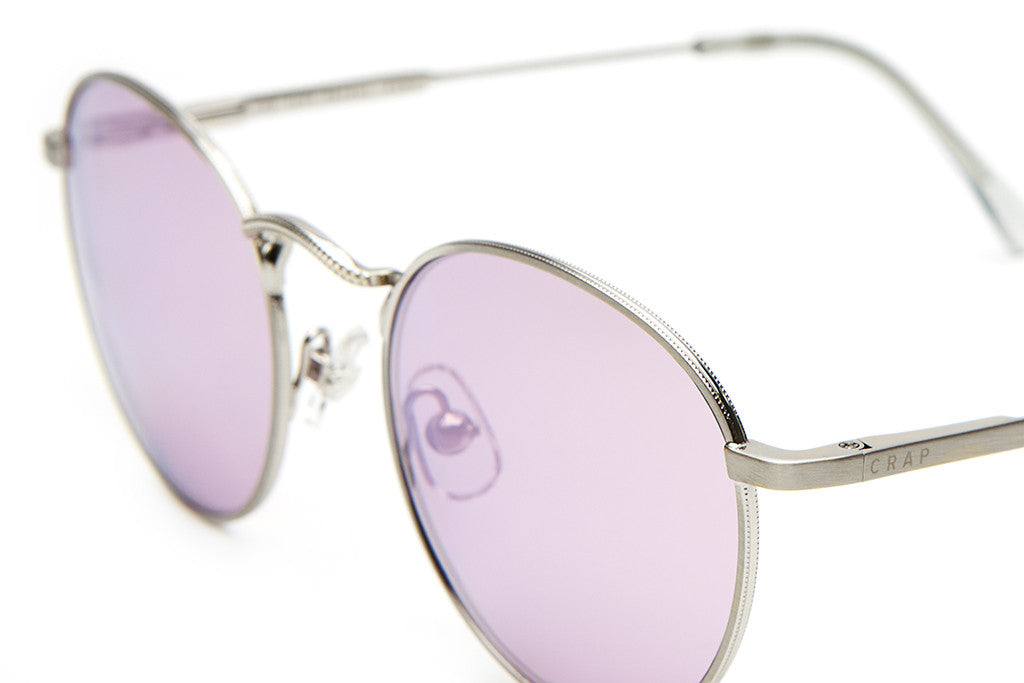 The Tuff Patrol - Brushed Silver Wire & Smoke Grey Tips - w/ Lilac Mirror Lenses - Sunglasses