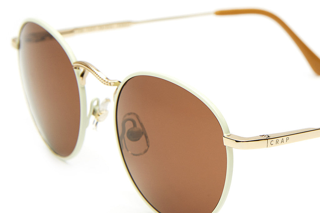 The Tuff Patrol - Gloss Cream Rims & Brushed Gold Wire - w/ Amber CR-39 Lenses - Sunglasses