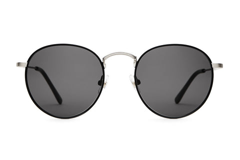 The Tuff Patrol - Flat Black Rims & Brushed Silver Wire - w/ Grey CR-39 Lenses - Sunglasses