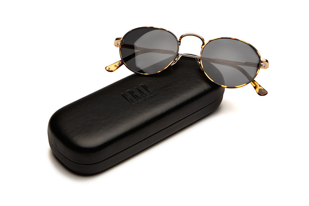 The Tuff Patrol - Jungle Tortoise Rims & Brushed Gold Wire - w/ Grey CR-39 Lenses - Sunglasses