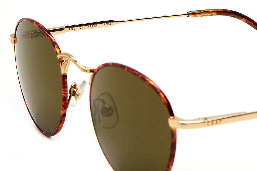 The Tuff Patrol - Wood Grain Rims & Polished Gold Wire - w/ Emerald Mirror Lenses - Sunglasses