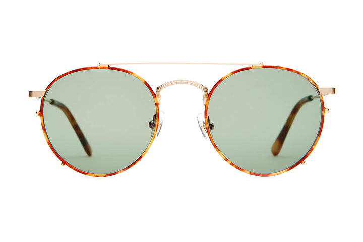 The Tuff Safari - Brushed Gold & Havana Tortoise - / Vintage Green - Sunglasses