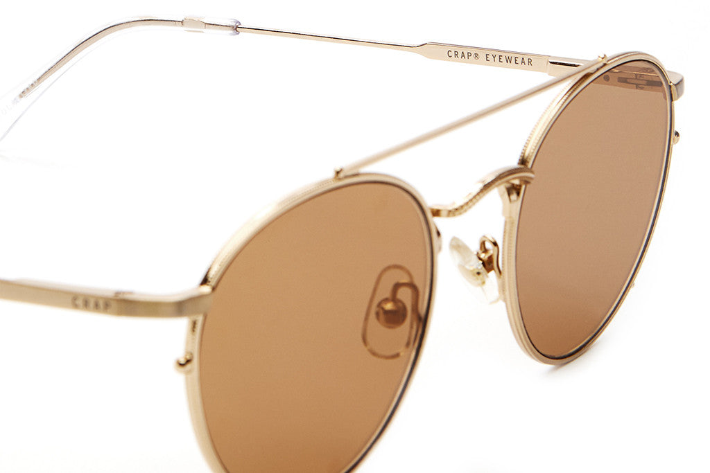 The Tuff Safari - Brushed Gold Wire & Crystal Clear Tips - w/ Zero Base Bronze Mirror Lenses - Sunglasses