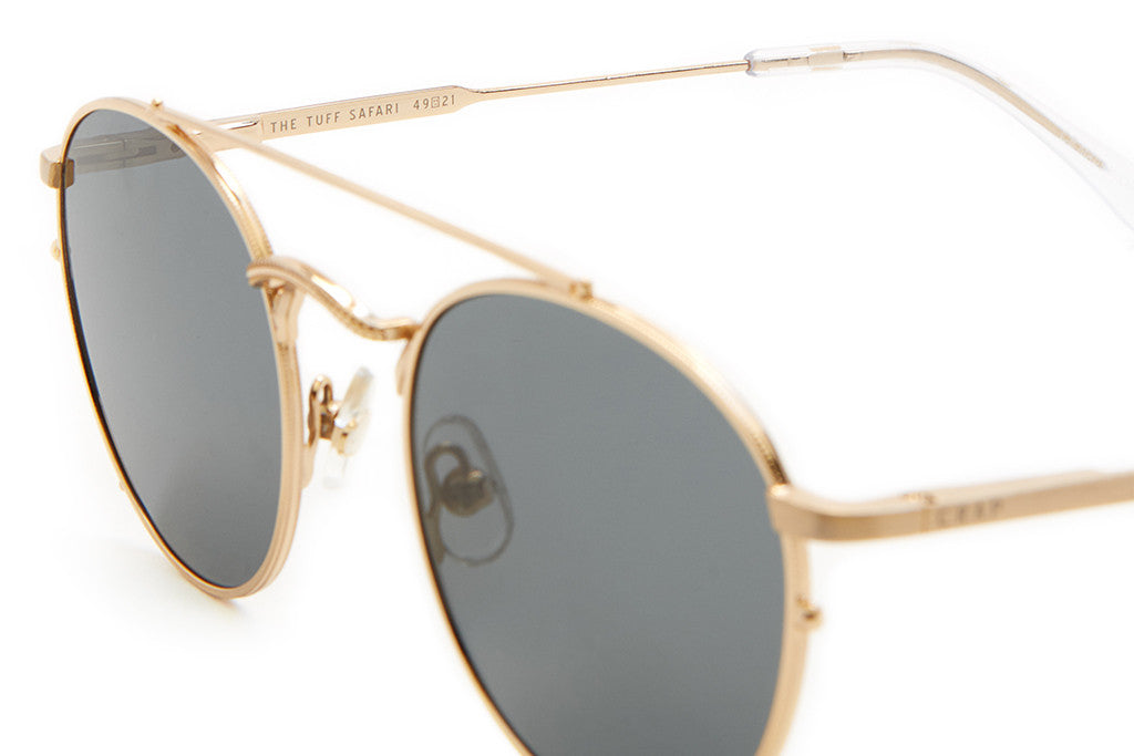 The Tuff Safari - Brushed Gold Wire & Crystal Clear Tips - w/ Zero Base Polarized Grey Lenses - Sunglasses