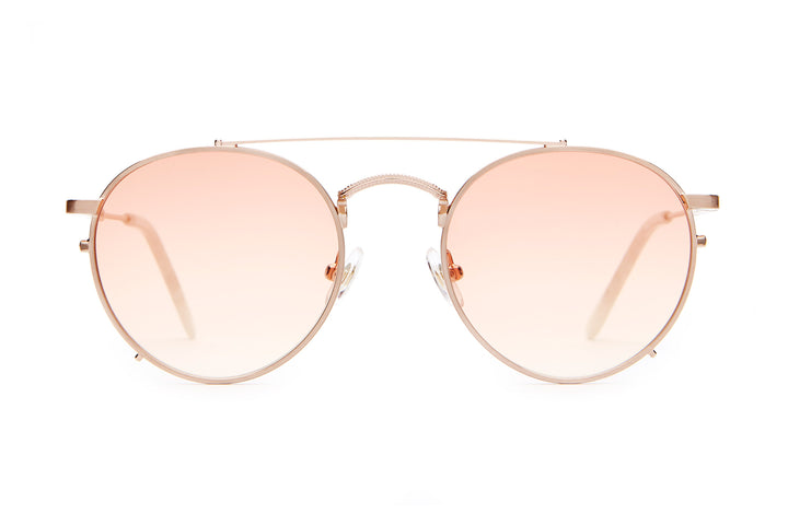 The Tuff Safari - Brushed Rose Gold & Pearl - / Peach Gradient - Sunglasses