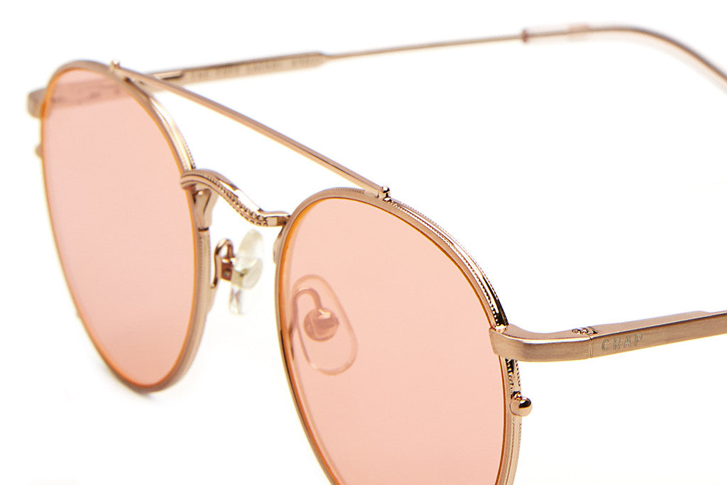 The Tuff Safari - Brushed Rose Gold Wire & Crystal Rose Tips - w/ Zero Base Rose Gold Mirror Lenses - Sunglasses