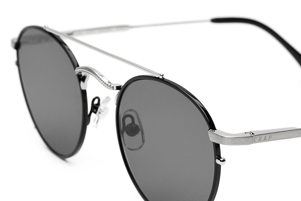 The Tuff Safari - Gloss Black Rims & Brushed Silver Wire - w/ Zero Base Polarized Grey Lenses - Sunglasses