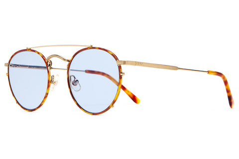 The Tuff Safari - Havana Tortoise Rims & Brushed Gold Wire - w/ Zero Base Light Blue Tint CR-39 Lenses - Sunglasses