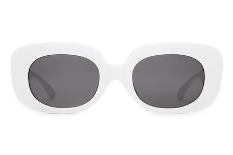 The Velvet Mirror - Gloss White - w/ Grey CR-39 Lenses - Sunglasses