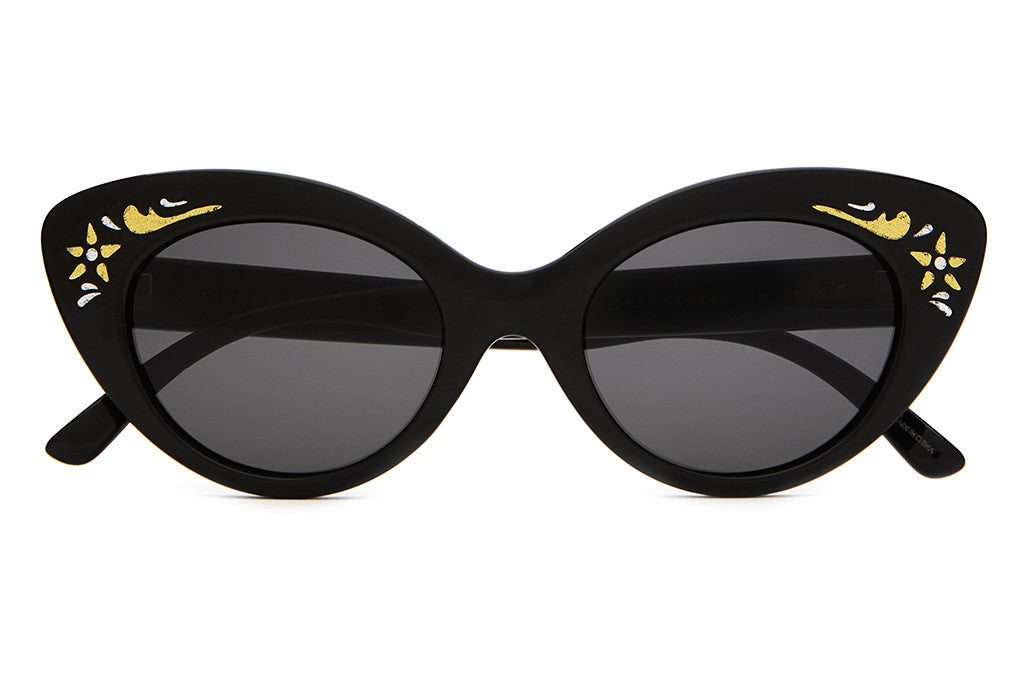 The Wild Gift - Gloss Black & Vintage Accents - w/ Grey CR-39 Lenses - Sunglasses