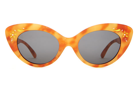 The Wild Gift - Gloss Havana Tortoise &  Floral Brow Accents - w/ Grey CR-39 Lenses - Sunglasses