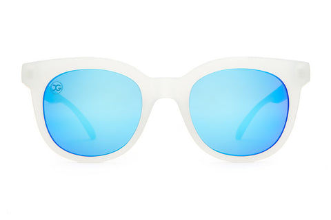 The Pop Control - X-Girl Matte Semitranslucent - w/ Reflective Blue Lenses - Sunglasses