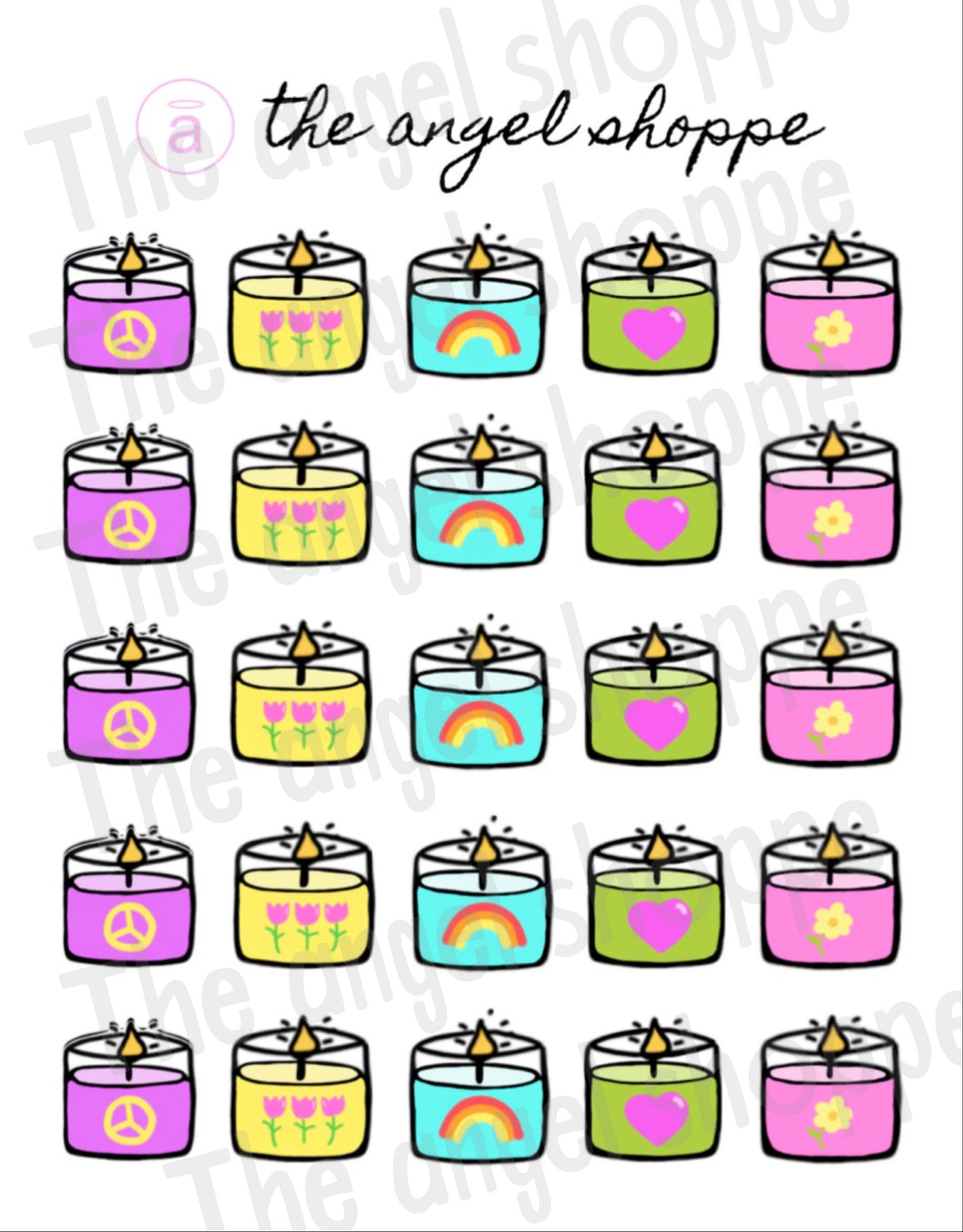 spring candle stickers