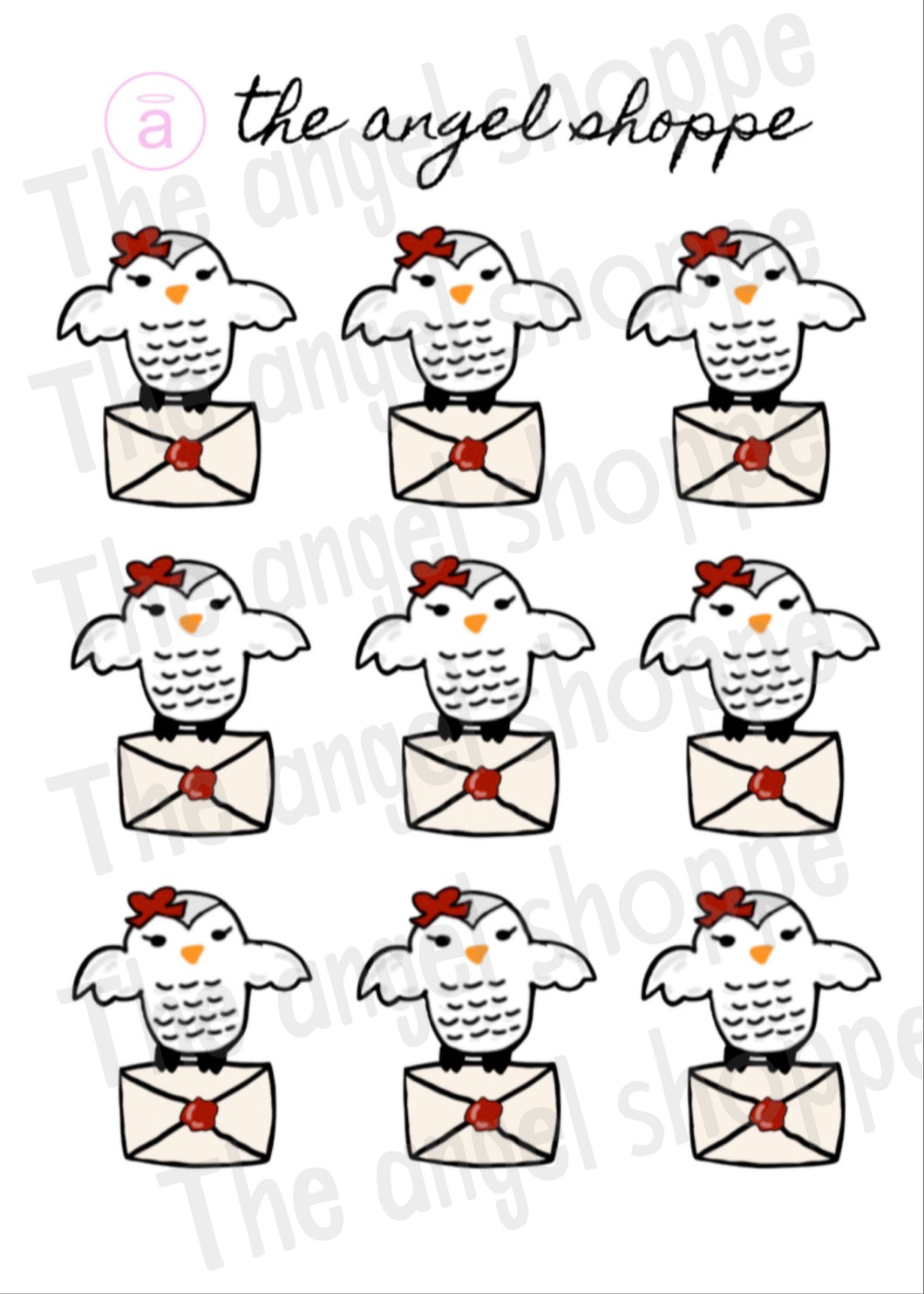 HP wizard owl mail stickers