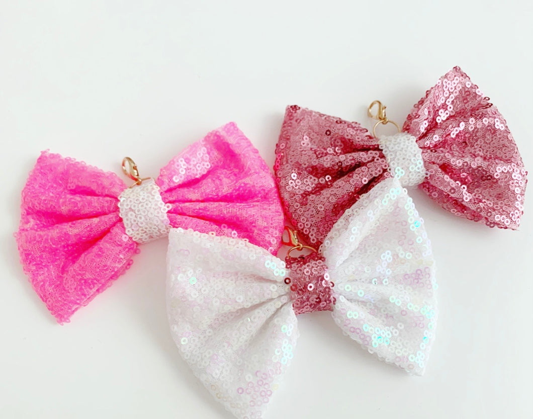 glitter pink bow charms