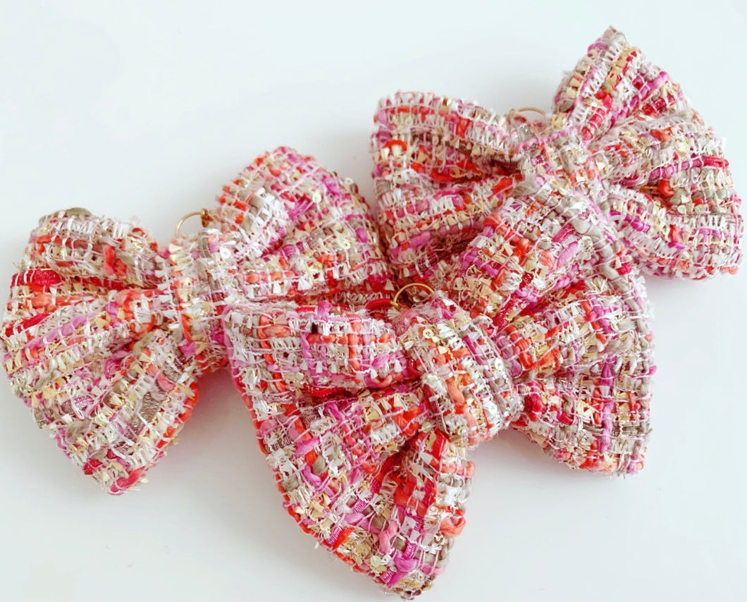 Pink plaid bow charms