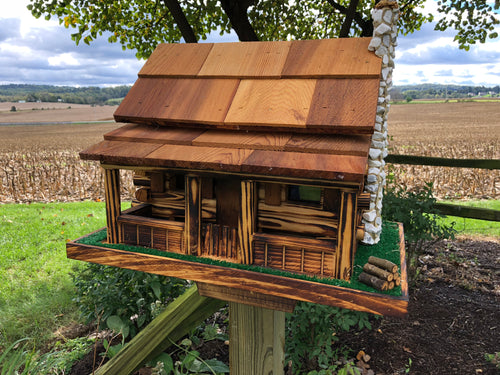 Rustic Log Cabin Style Bird Feeder | Amish Made