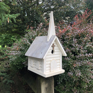 Wooden Church Birdhouse with Silver Metal Roof | Made with Reclaimed Material | SH-SM3