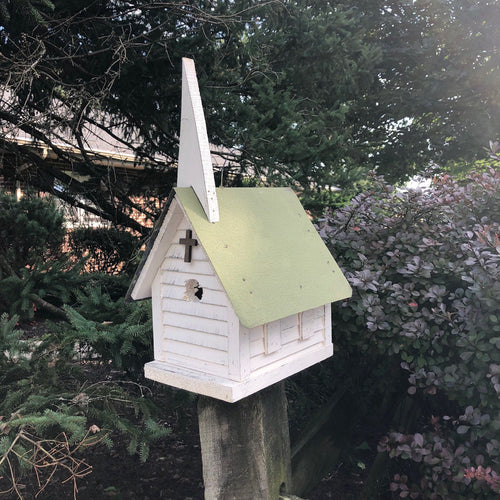 Rustic Wooden Church Birdhouse with Metal Roof | Made with Distressed Reclaimed Material | SH-SM3