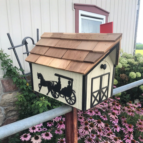 Amish Mailbox with Horse and Buggy with Cedar Roof | Amish Made | K0004