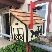 Load image into Gallery viewer, Amish Mailbox with Horse and Buggy with Cedar Roof | Amish Made | K0004
