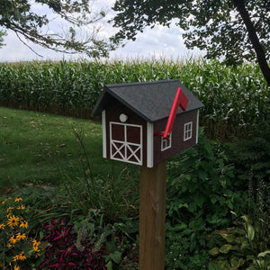 Durable and Beautiful Barn Style Mailbox | Cherry Box with White Trim | Poly Lumber | E250