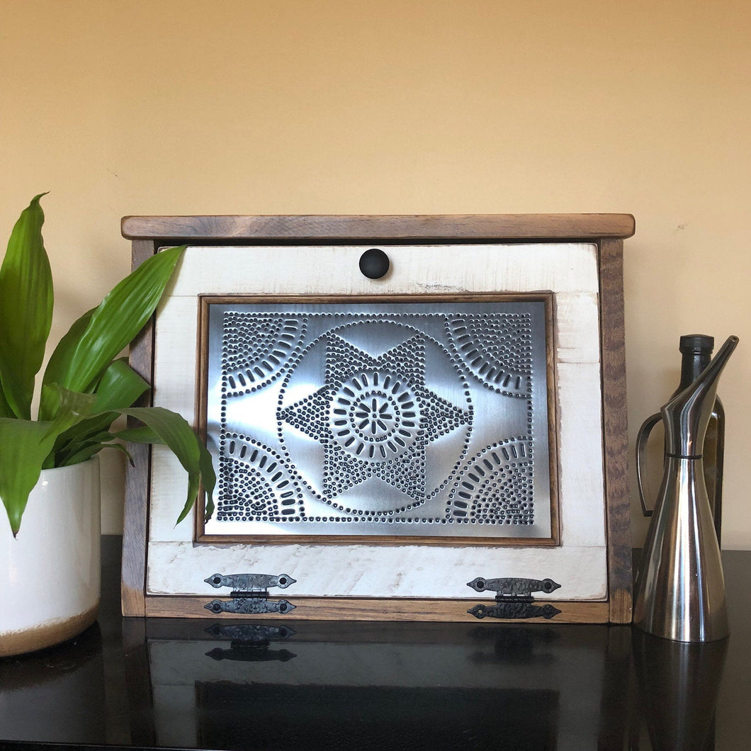 Bread Box | Rustic and Hand Crafted | Rustic White Finish
