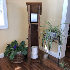 Wooden Toilet Paper Holder w/Storage | Rustic Farmhouse Decor
