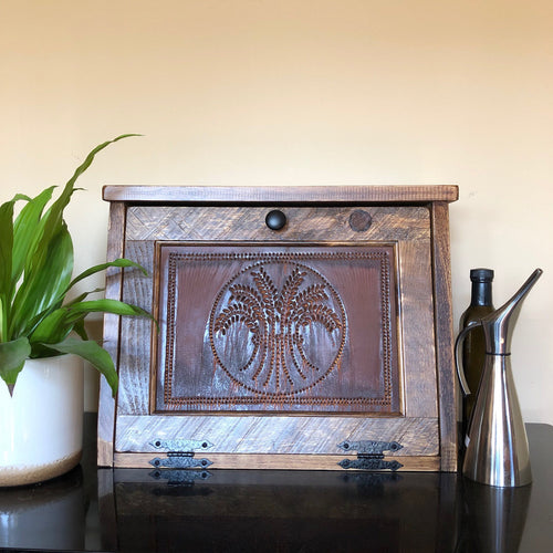 Bread Box | Rustic Farmhouse Decor | Brown Stained Box Color