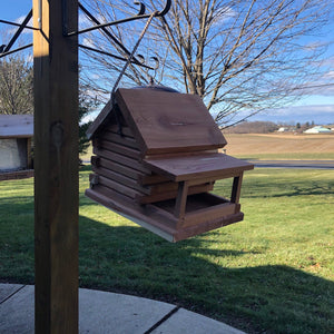 Cedar Log Cabin Bird Feeder | Amish Made | Hand Crafted | Yard and Garden Decor
