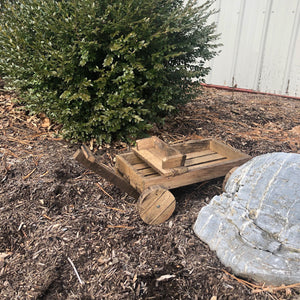 Wooden Wagon Planter | Hickory Wood Garden Decor | Amish Made