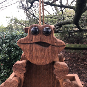 Frog Bird Feeder | Hand Made from Reclaimed Wood