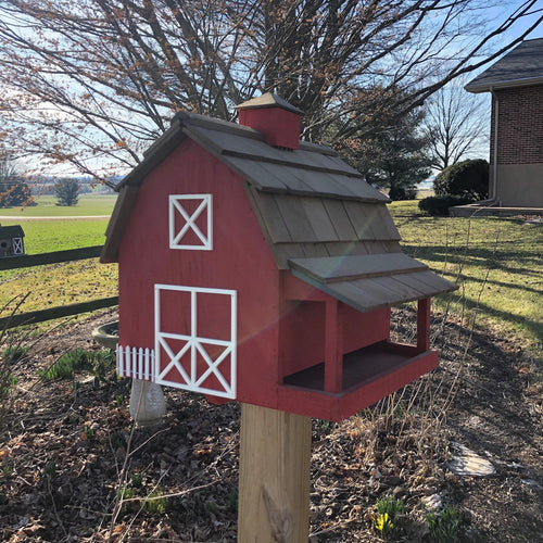 Traditional Red Barn Bird Feeder | Yard and Garden Decor | Amish Made