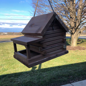 Cedar Log Cabin Birdhouse | Amish Made | Hand Crafted | Yard and Garden Decor