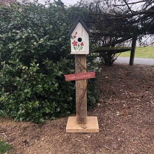 Birdhouse Welcome Sign | Garden Decor from Reclaimed Materials | Amish Made