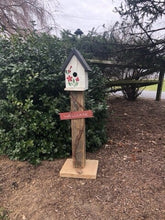 Load image into Gallery viewer, Birdhouse Welcome Sign | Garden Decor from Reclaimed Materials | Amish Made